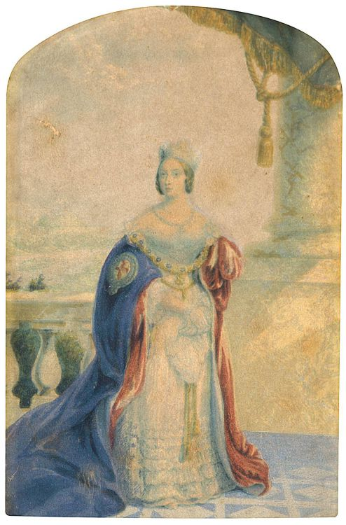 English School 19th Century; Portrait of Queen Victoria, Baxter print