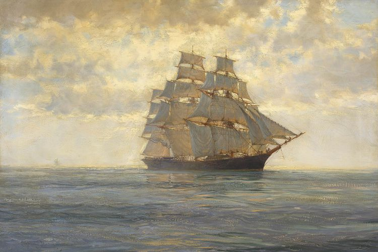 Montague Dawson; Lightning Coasting in the Doldrums