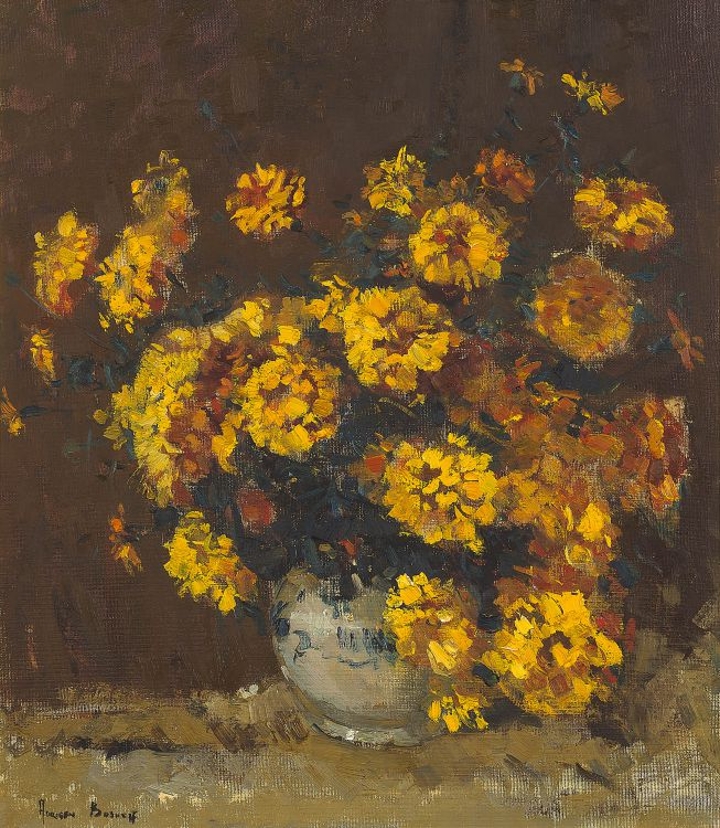 Adriaan Boshoff; Still Life with Marigolds in a Vase