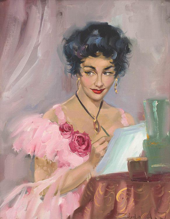 European School 20th Century; Portrait of a Girl in Pink