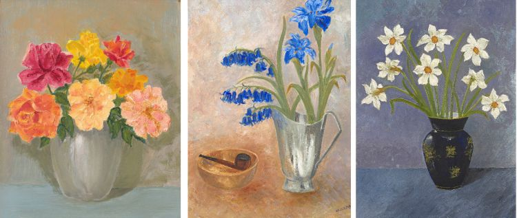 South African School 20th Century; Still Life of Bluebells and a Pipe