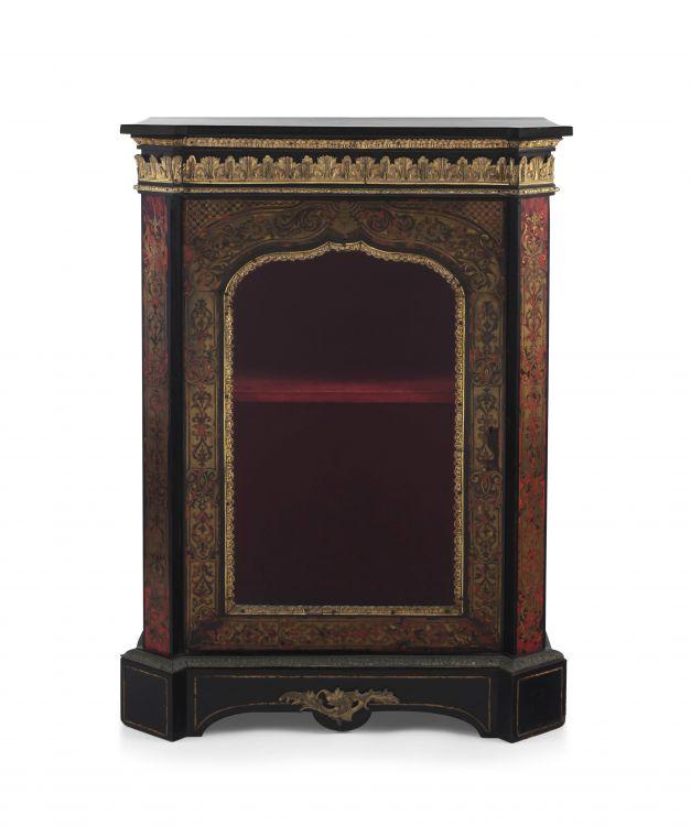 A Napoleon III boulle, tortoiseshell, ebonised and gilt-metal mounted pier cabinet