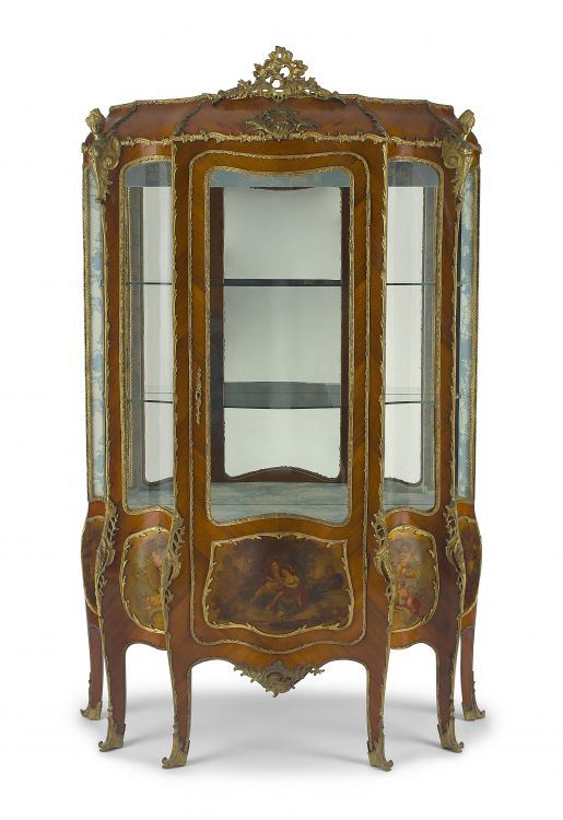 A French kingwood, Vernis Martin gilt-metal mounted vitrine cabinet, late 19th century