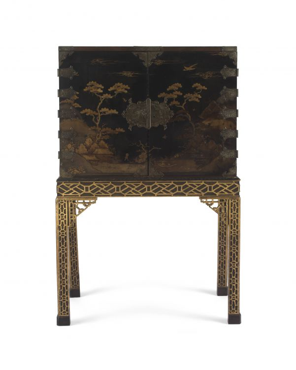 A black lacquered and gilt-metal-mounted cabinet-on-stand, 18th/19th century