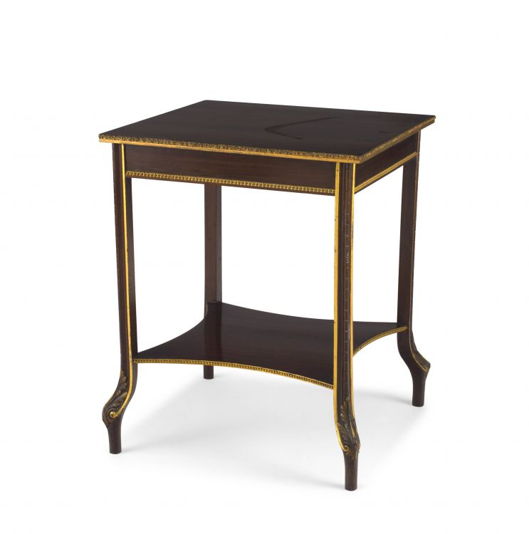 A walnut and giltwood occasional table, 19th century