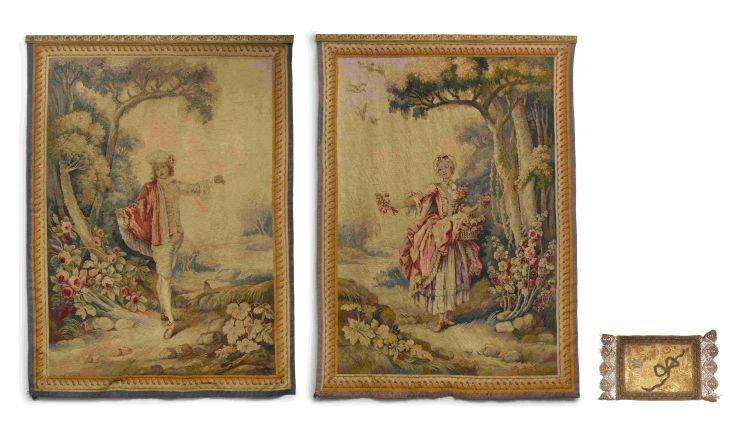 Two Louis XV style woven tapestries, probably Belgian
