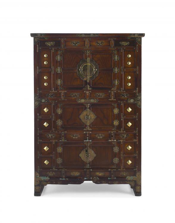 A Korean yumu, fruitwood and gilt-metal mounted cabinet, 20th century