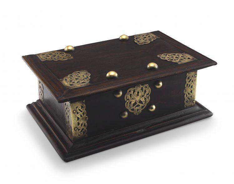 A Batavian padouk and brass-mounted document box, 18th century