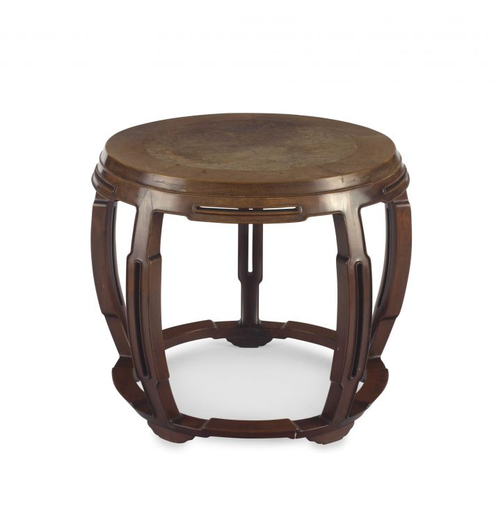 A Chinese hongmu and burlwood occasional table, Qing Dynasty, 19th century