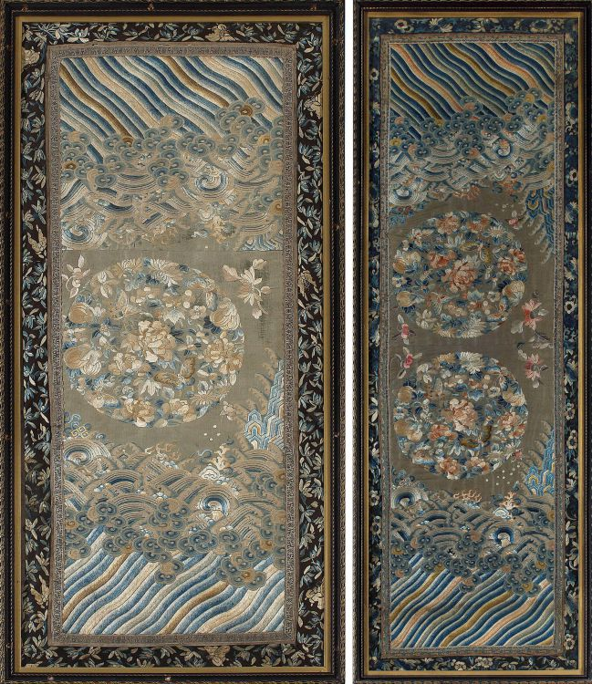 A near pair of Chinese silk panels, Qing Dynasty, 19th century