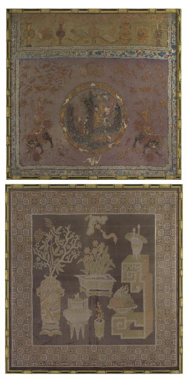 A Chinese silk panel, late 19th century