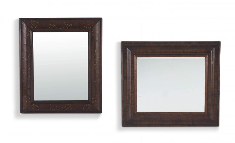 A William and Mary style mahogany and marquetry cushion frame mirror, 18th/19th century,