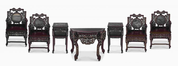 A Chinese Export hardwood, dream stone and mother-of-pearl inlaid suite, 20th century