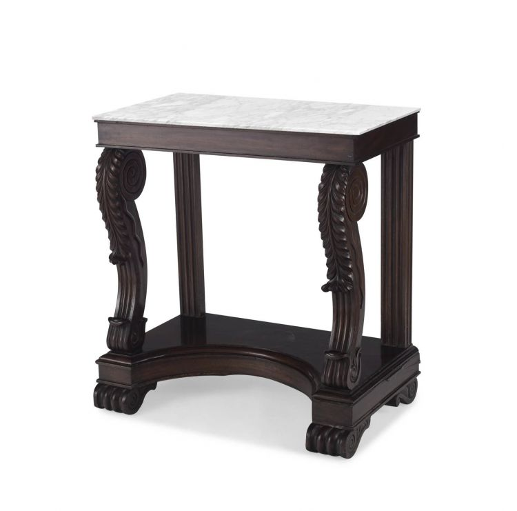 A Victorian mahogany and marble-topped console table