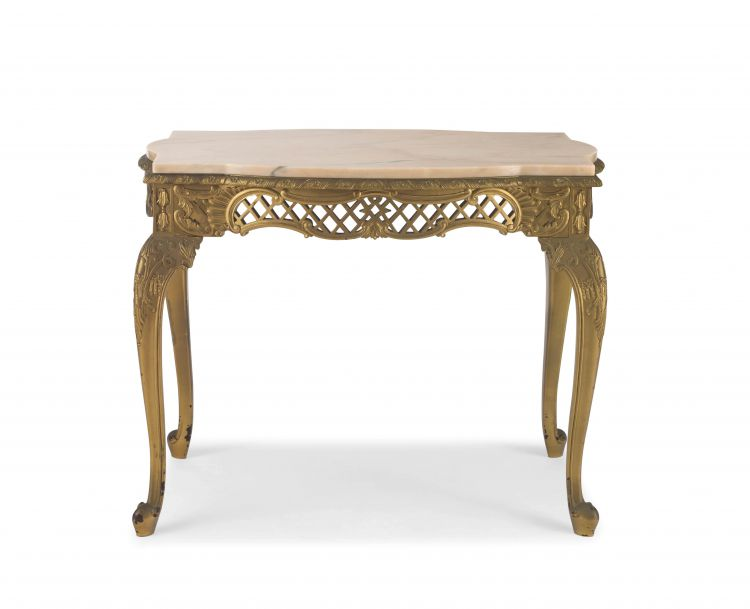 A painted gilt-metal and marble-topped table, 20th century