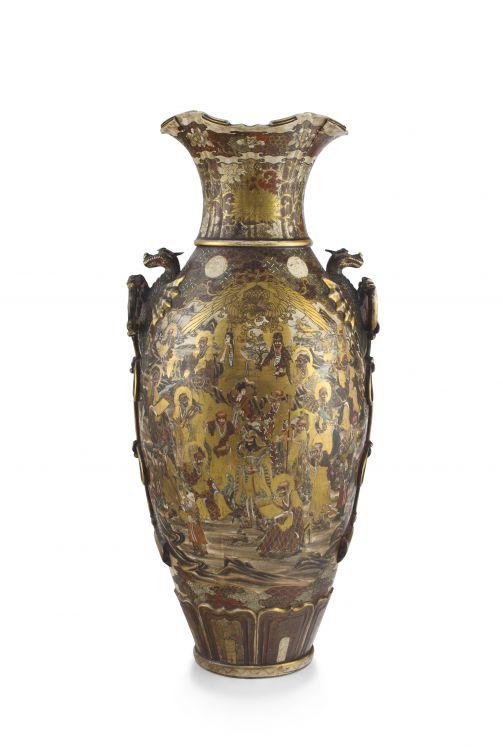 A large Japanese Satsuma earthenware vase, late 19th century
