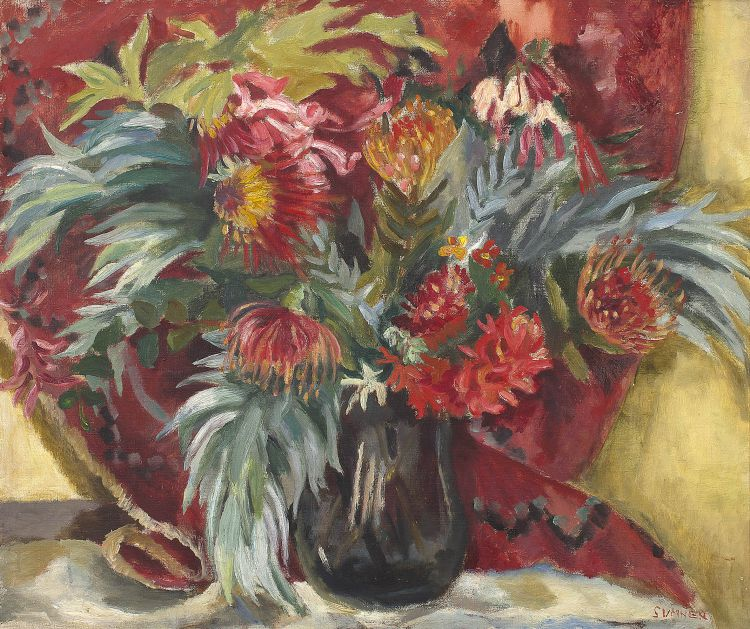 Maud Sumner; Still Life with Proteas and Silvertree Leaves in a Vase