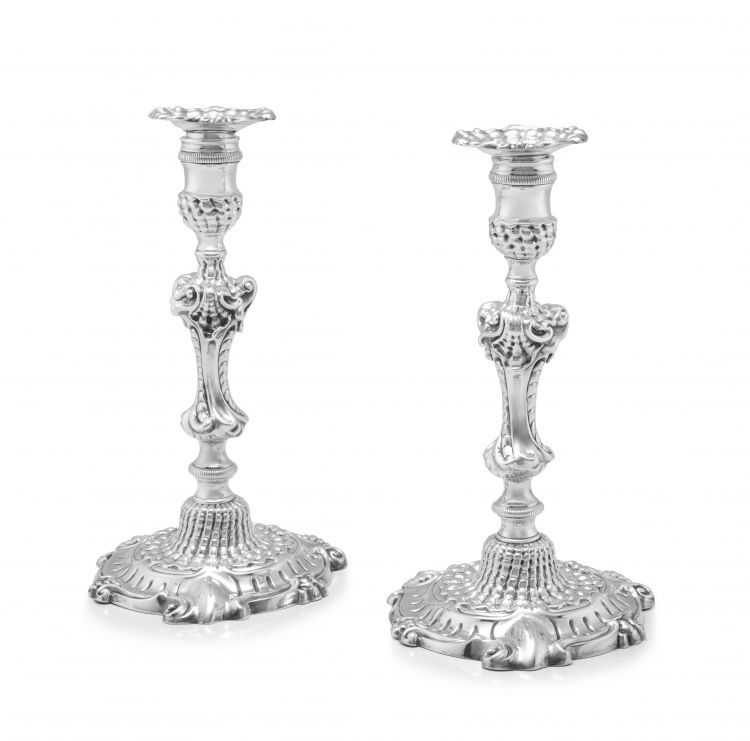 A pair of cast George II silver candlesticks, John Cafe, London, 1751