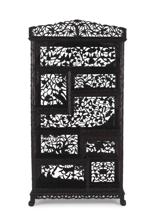 A Chinese carved hardwood 'bamboo' stand, late 19th/early 20th century