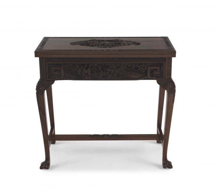 A Chinese carved teak card table, 20th century