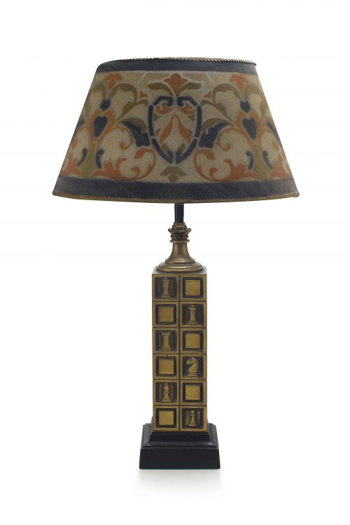 A patinated brass table lamp, 1970s