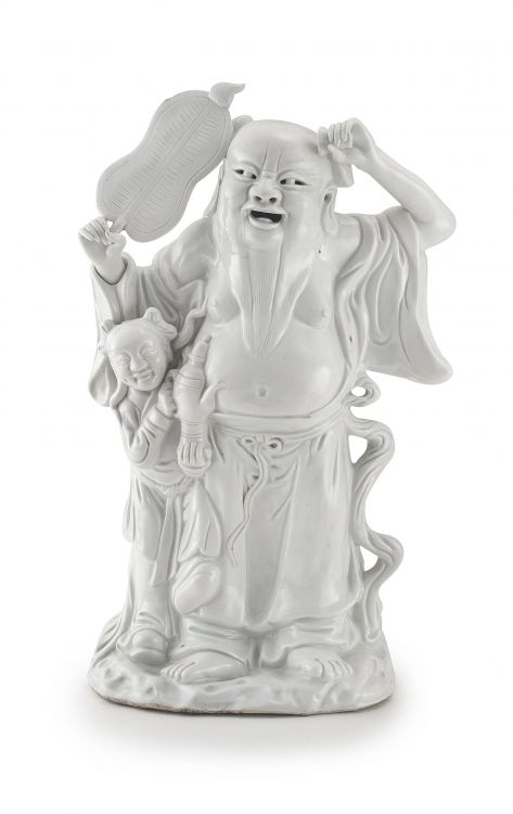 A Chinese blanc-de-chine figure of a Lohan, Qing Dynasty, 19th century