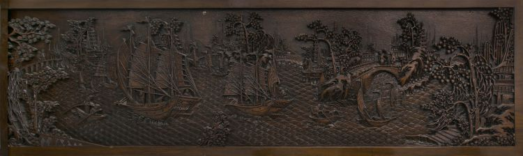 A set of seven Chinese Export carved teak panels, late 19th/early 20th century