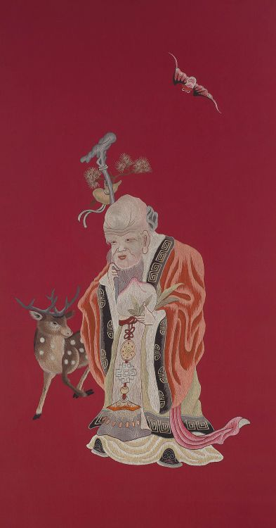 A Chinese silk and colour embroidered panel, 20th century