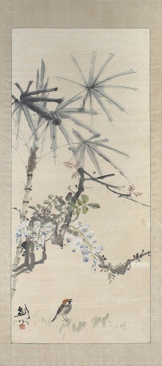 A Chinese ink and colour on paper scroll painting