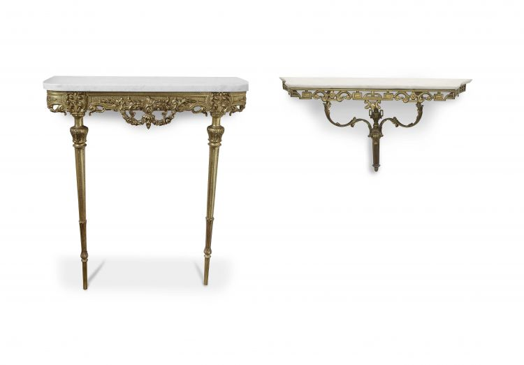 A French style marble-topped and gilt-metal wall-mounted console table, 20th century