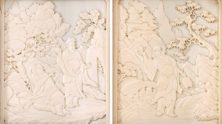 A pair of Chinese carved ivory panels, Qing Dynasty, late 19th century