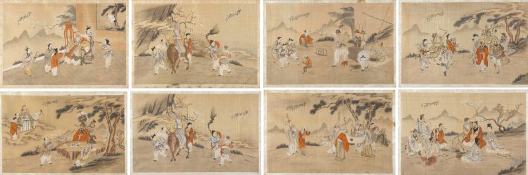 A set of eight Chinese ink and colour on silk paintings, late 19th/early 20th century
