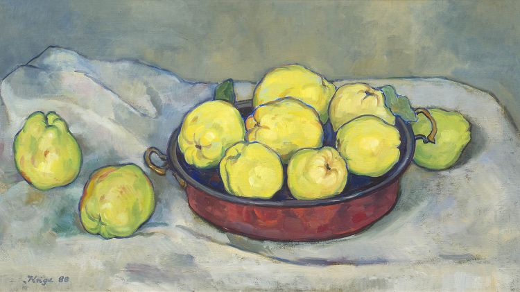 François Krige; Still Life with Quinces in a Copper Boiler