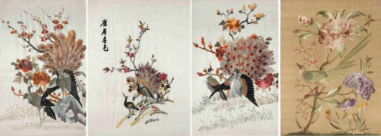 A pair of Chinese silk embroidered panels, 20th century