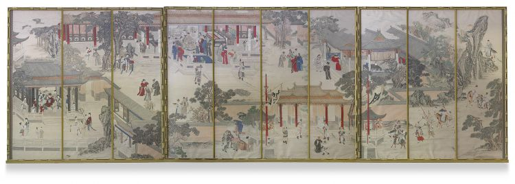 A set of ten large Chinese ink and colour on paper scroll panels, Qing Dynasty, 19th century