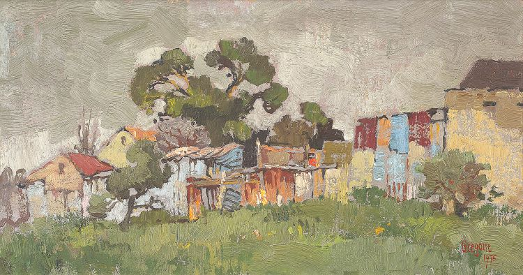 Gregoire Boonzaier; Old Tree, Galvanised Fence & Cottages