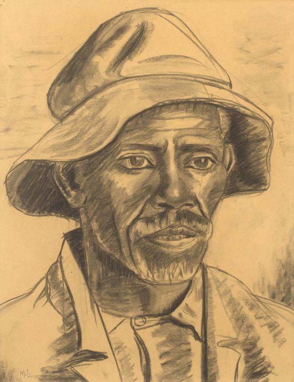 Maggie Laubser; Portrait of Man with Hat