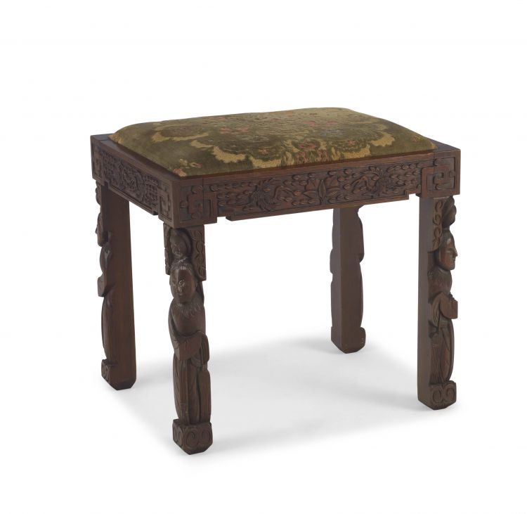 A Chinese Export teak stool, 20th century