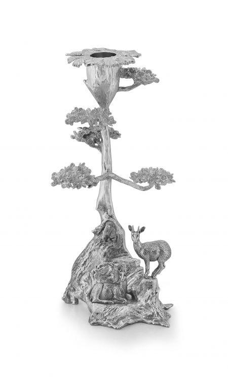 A silver cast 'Root Tree & Klipspringer' candle holder, Patrick Mavros, Harare, 2000
