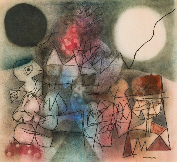 Louis Maqhubela; Abstract with Village and Bird