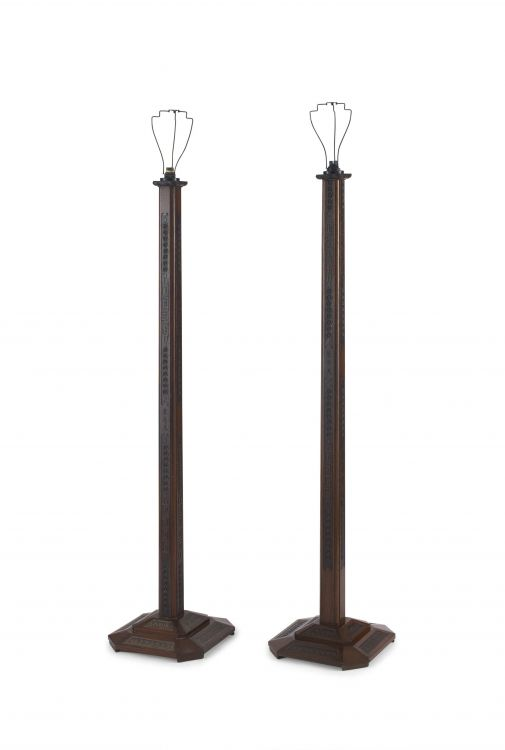 Two Chinese Export hardwood standing lamps, 20th century