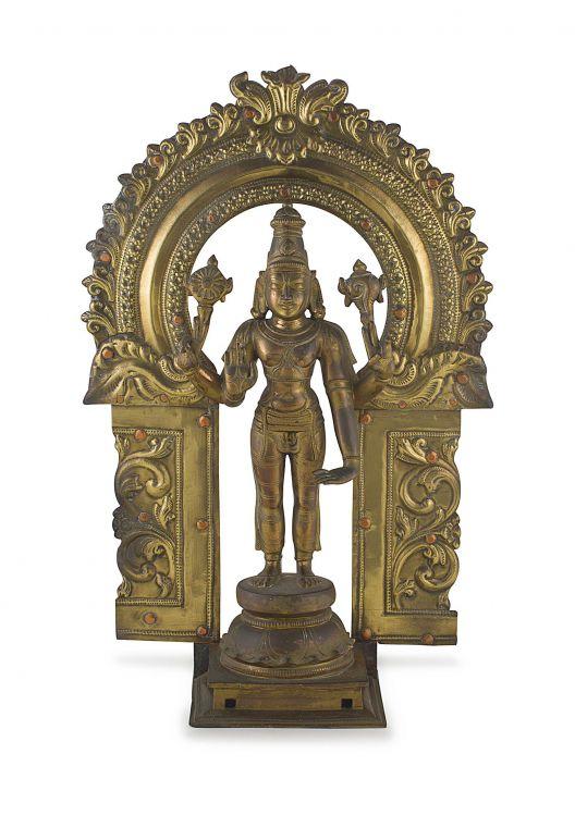 A gilt bronze figure of Vishnu, South India