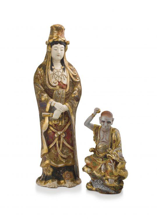 A Japanese Satsuma figure of Kannon, late Meiji period, 1868-1912