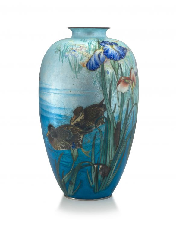 A Japanese ginbari enamel vase, Meiji period, 1868-1912