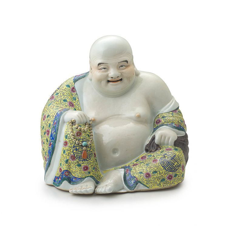 A Chinese famille-rose figure of Pu-Tai, early 20th century