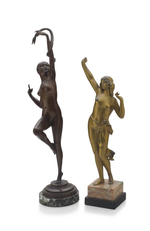 A French bronze figure of a snake dancer, Paul Philippe, 1870 - 1930
