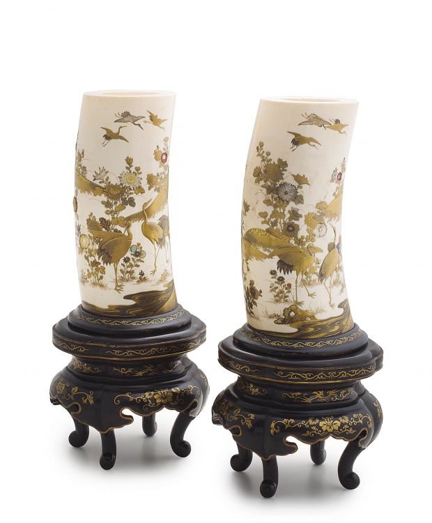 A pair of Japanese Shibayama-style  inlaid and lacquer ivory tusk vases, Meiji period, 1868-1912