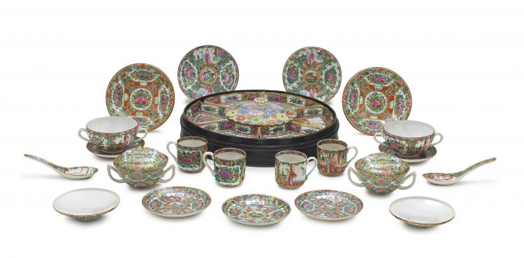 A group of Chinese famille-rose part coffee and dinner services, 20th century
