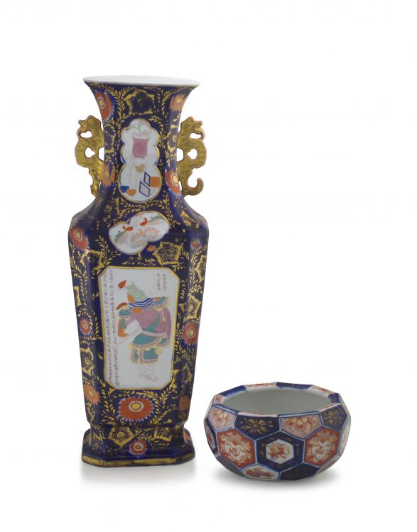A Staffordshire 'chinoiserie' two-handled vase, 19th century