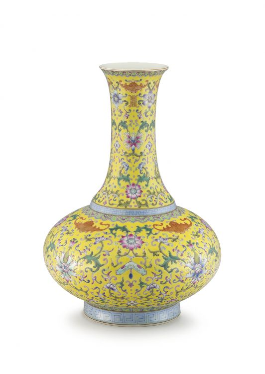 A Chinese yellow ground bottle vase, late Republic period